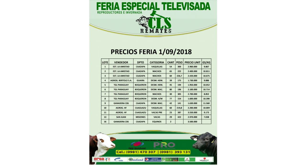 Precios Feria 1/09/2018