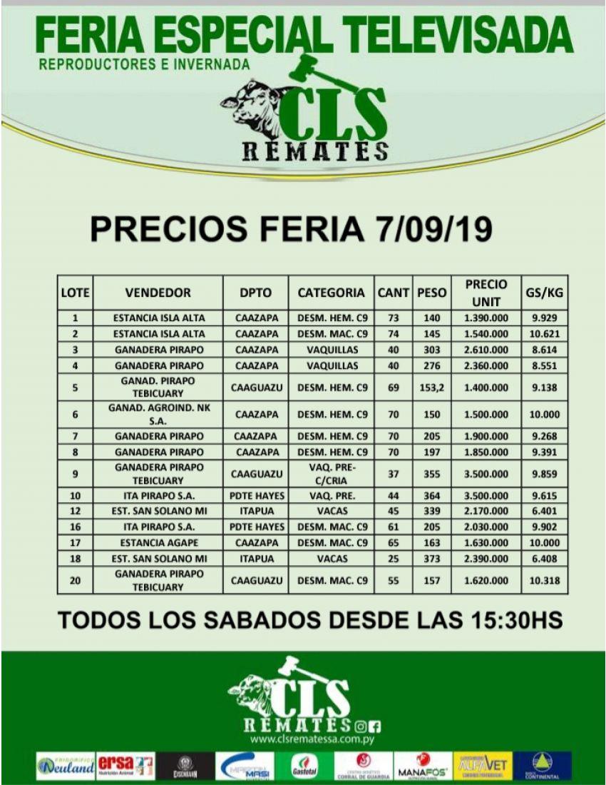 Precios Feria 7/09/2019