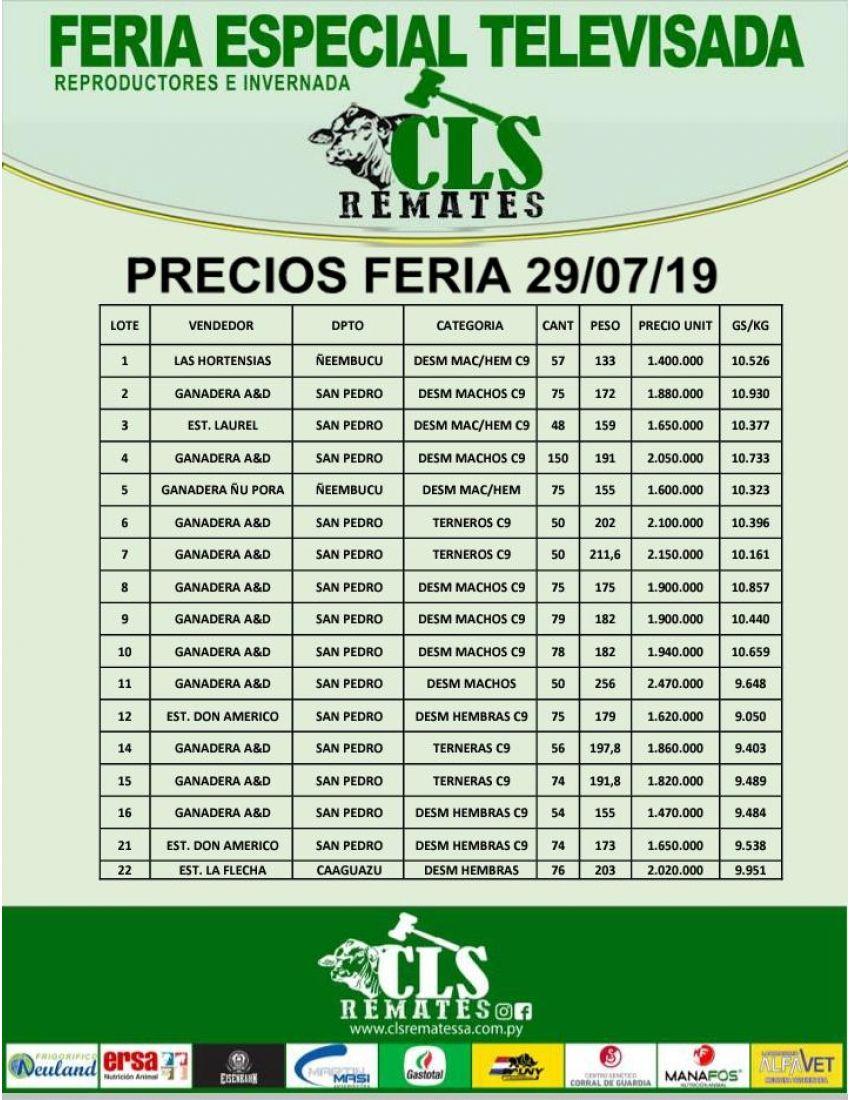 Precios Feria 29/07/2019