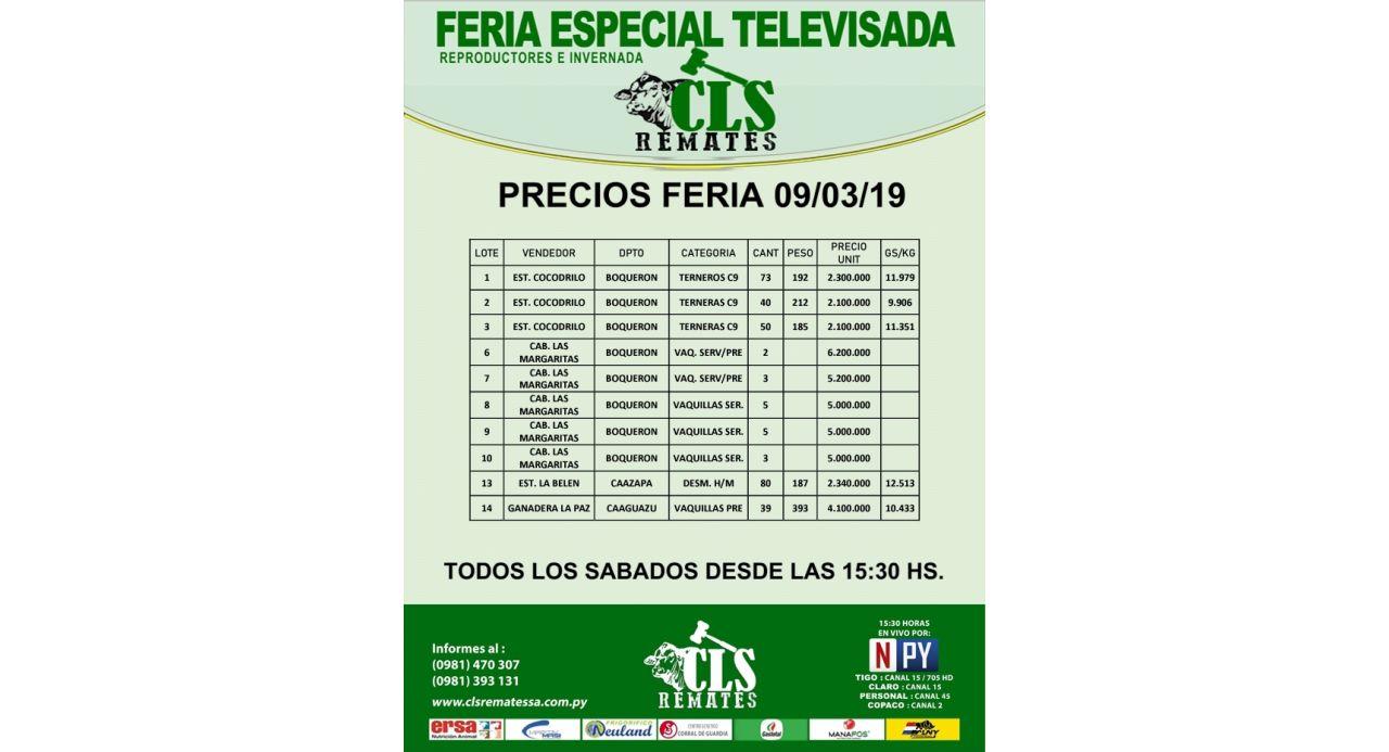 Precios Feria 9/03/2019