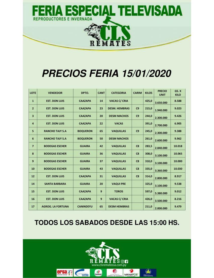 Precios de Feria 15/01/2020