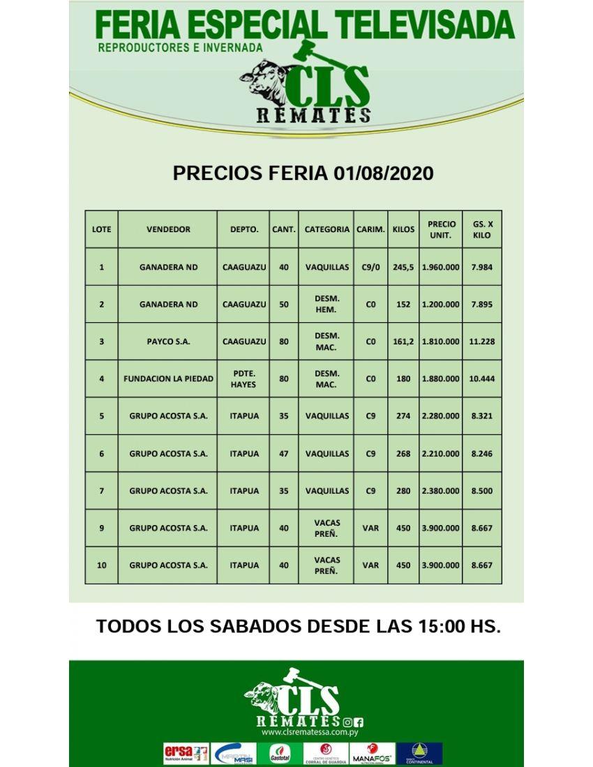PRECIOS FERIA 01/08/2020