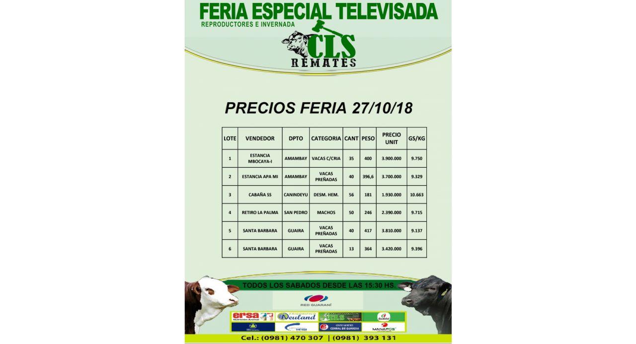 Precios Feria 27/10/2018