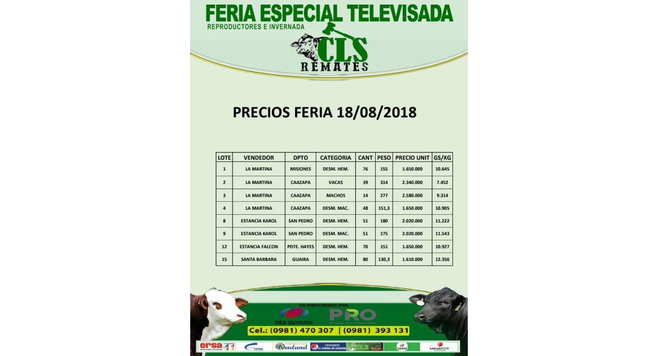 Precios Feria 18/08/2018