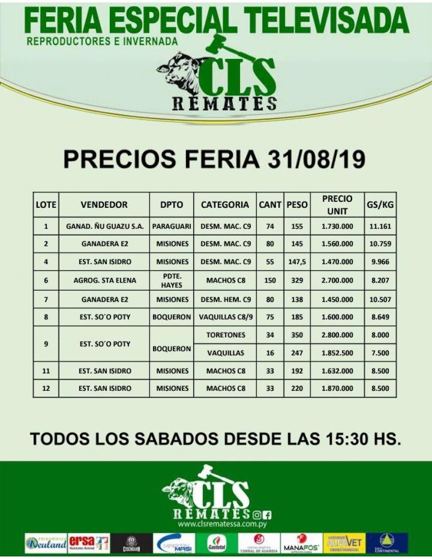 Precios Feria 31/08/2019