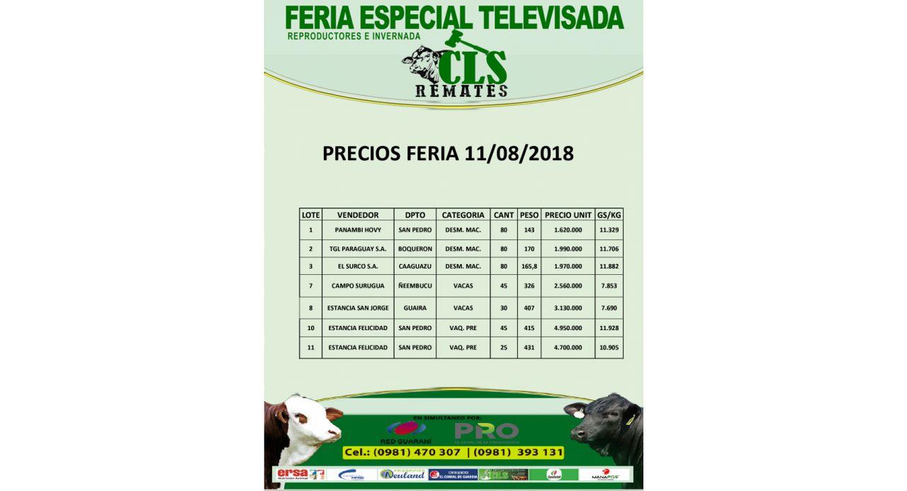 Precios Feria 11/08/2018