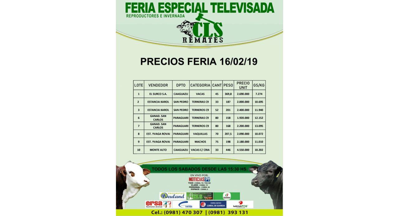 Precios Feria 16/02/2019