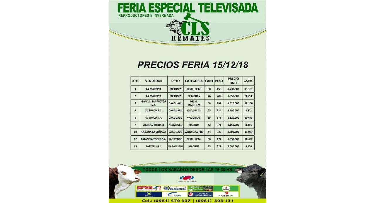 Precios Feria 15/12/2018