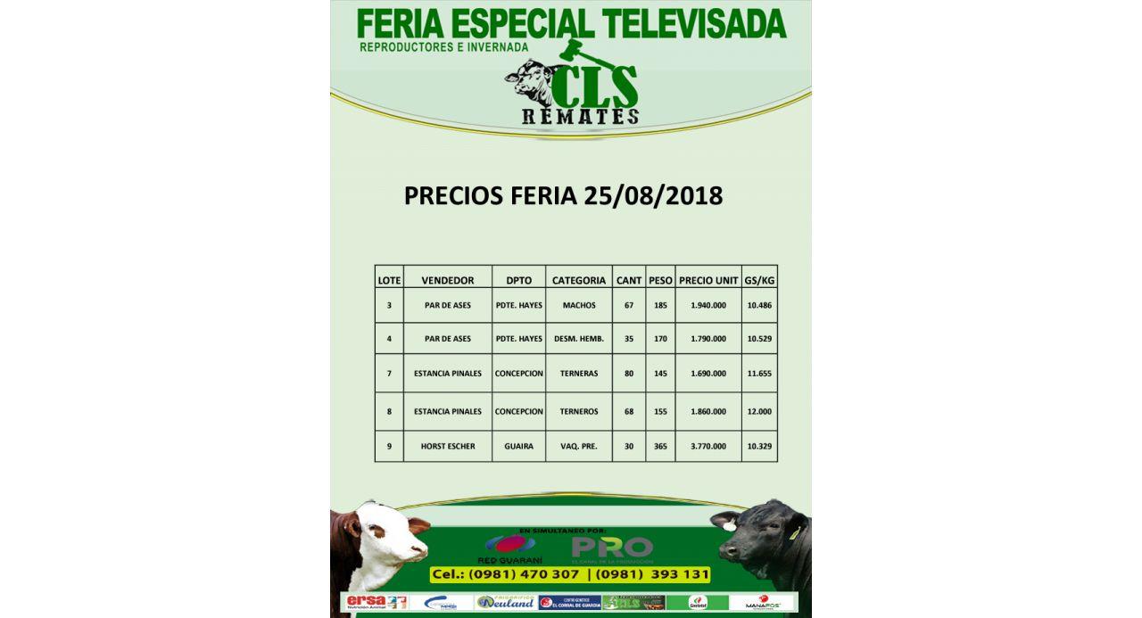 Precios Feria 25/08/2018