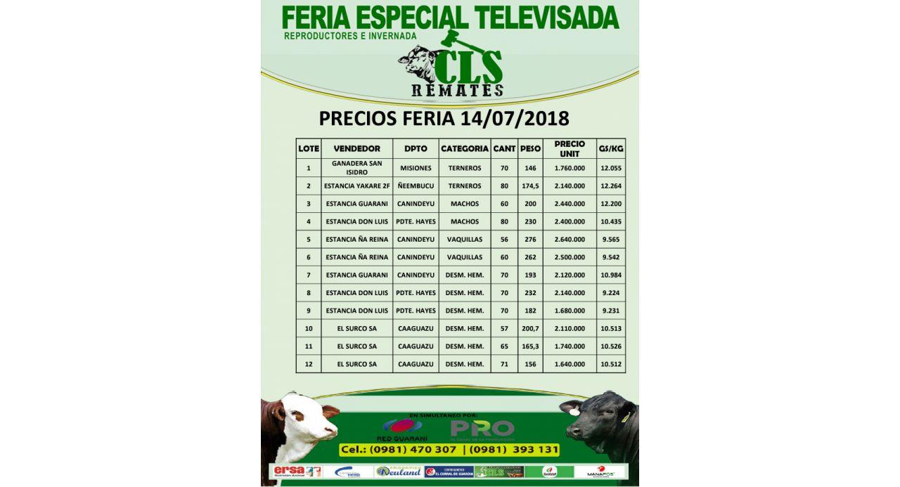 PRECIOS FERIA 14/07/2018