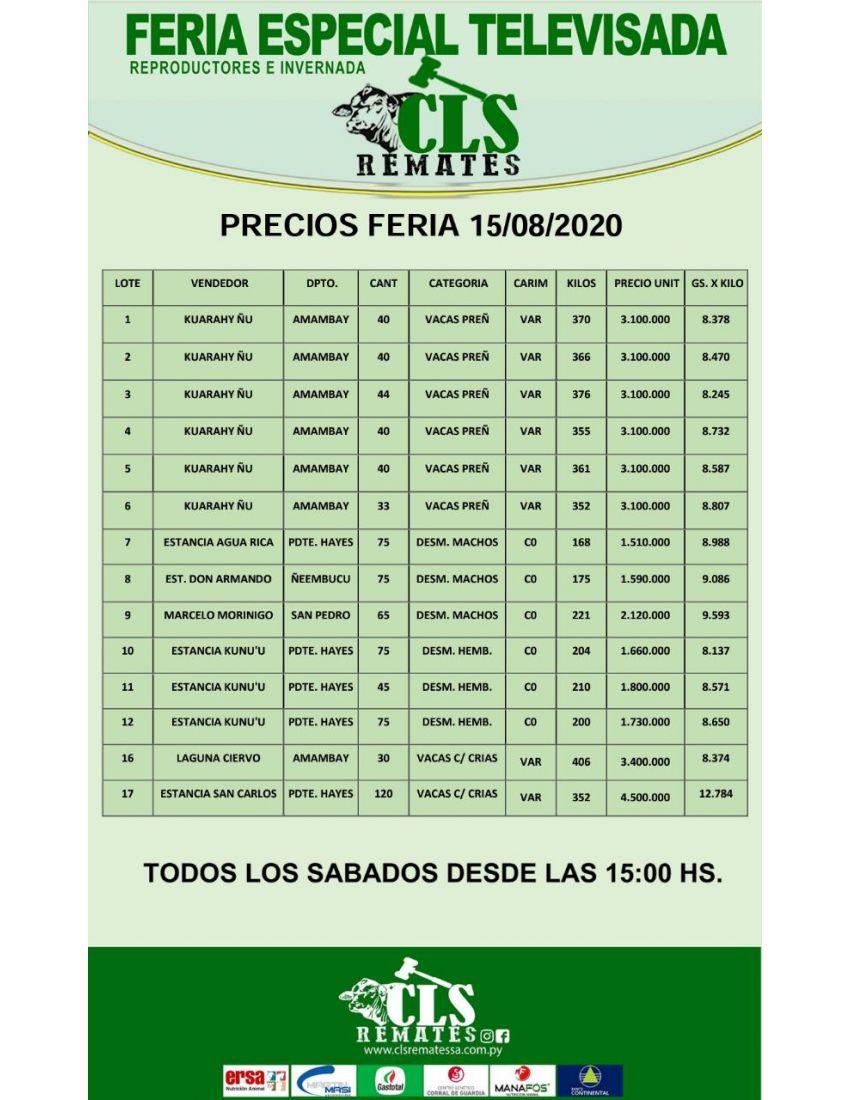 PRECIOS FERIA 15/08/2020