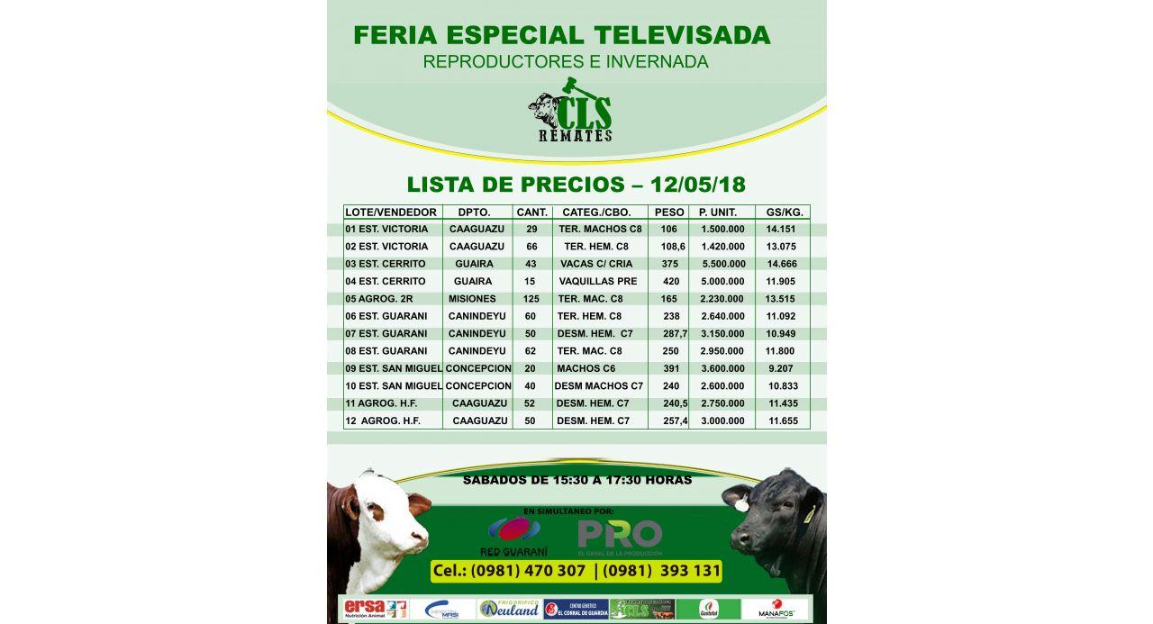 PRECIOS FERIA TELEVISADA 12/05/2018