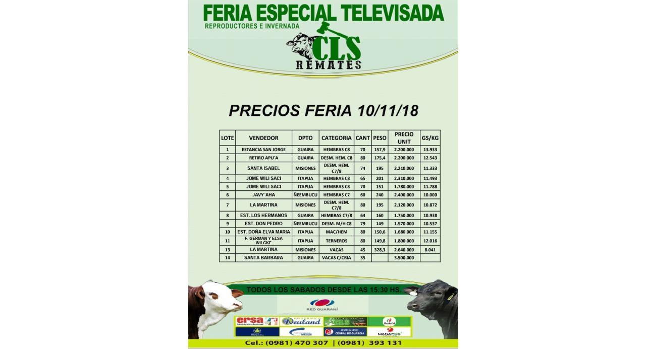 Precios Feria 10/11/2018