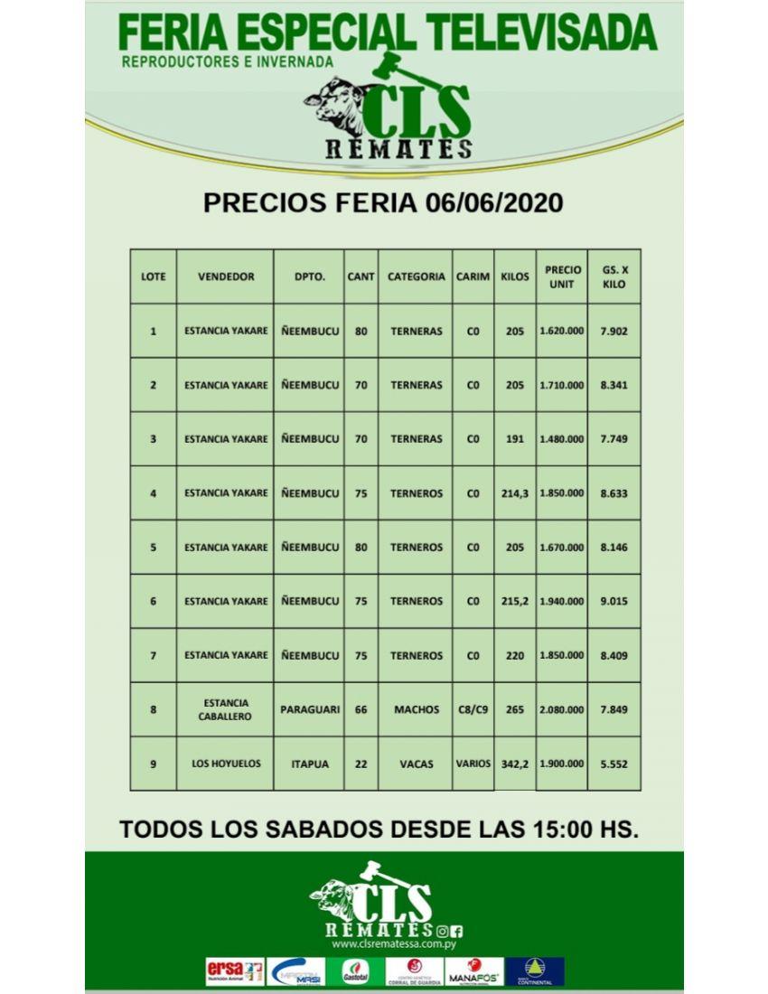 PRECIOS FERIA 6/06/2020