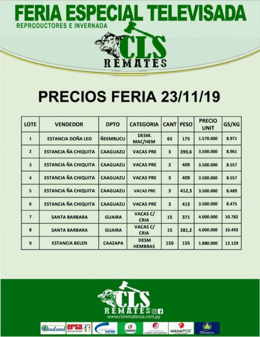 Precios Feria 23/11/2019