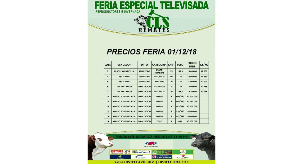 Precios Feria 1/12/2018