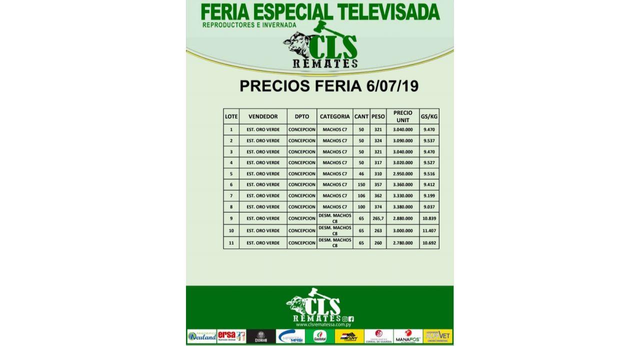 Precios Feria 6/07/2019