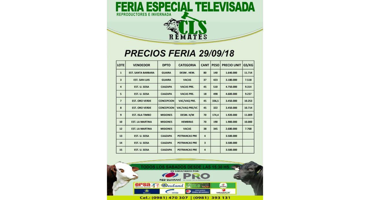 Precios Feria 29/09/2018