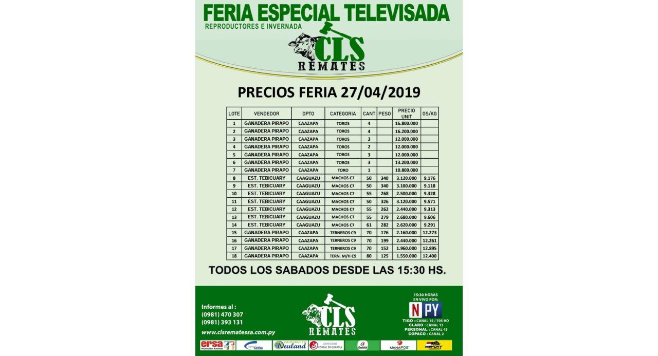 Precios Feria 27/04/2019