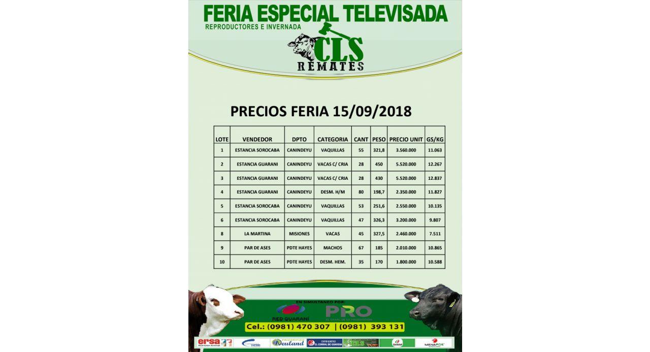 Precios Feria 15/09/2018