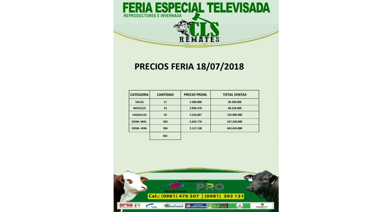 Precios Feria Invernada Curuguaty 18/07/2018