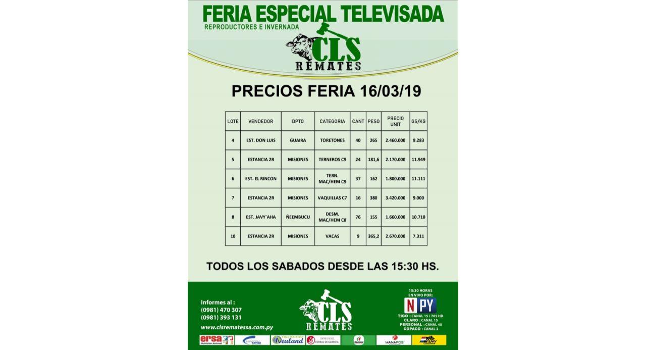 Precios Feria 16/03/2019
