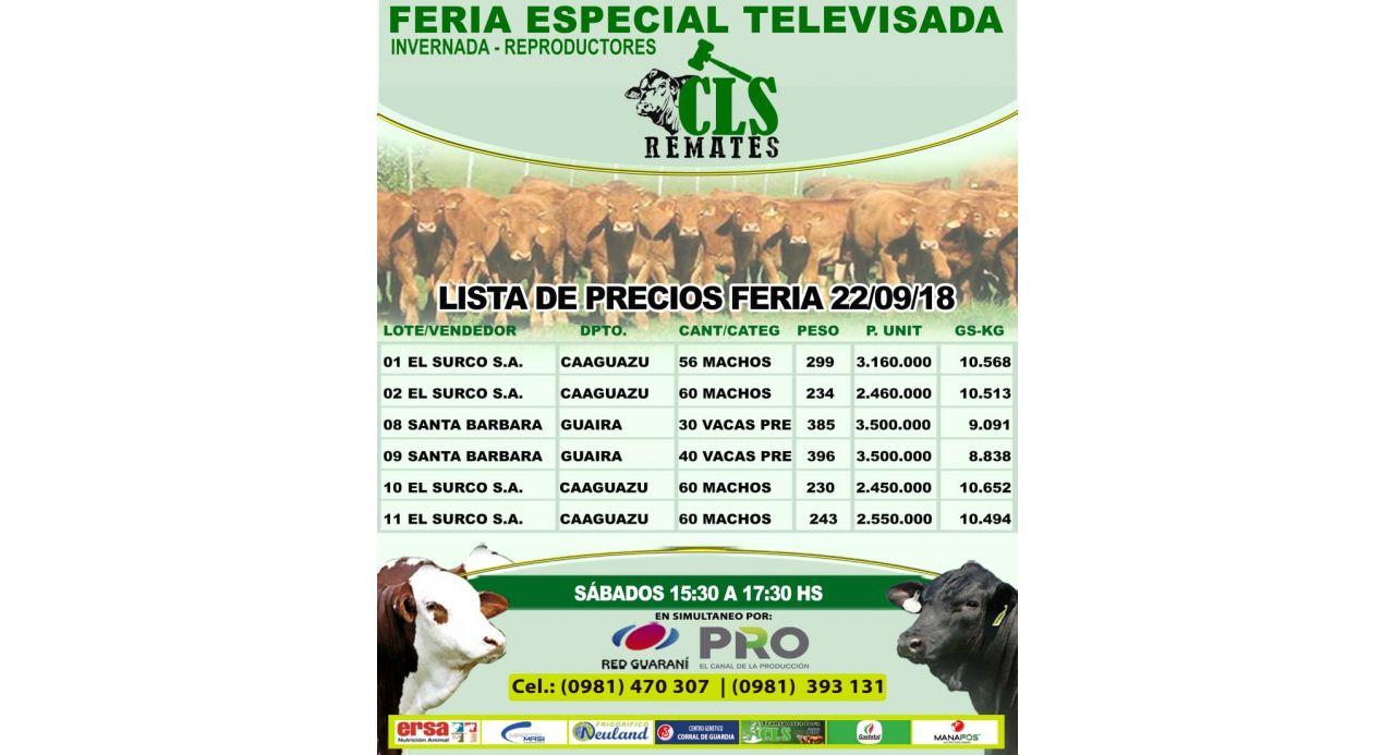 Precios Feria 22/09/2018