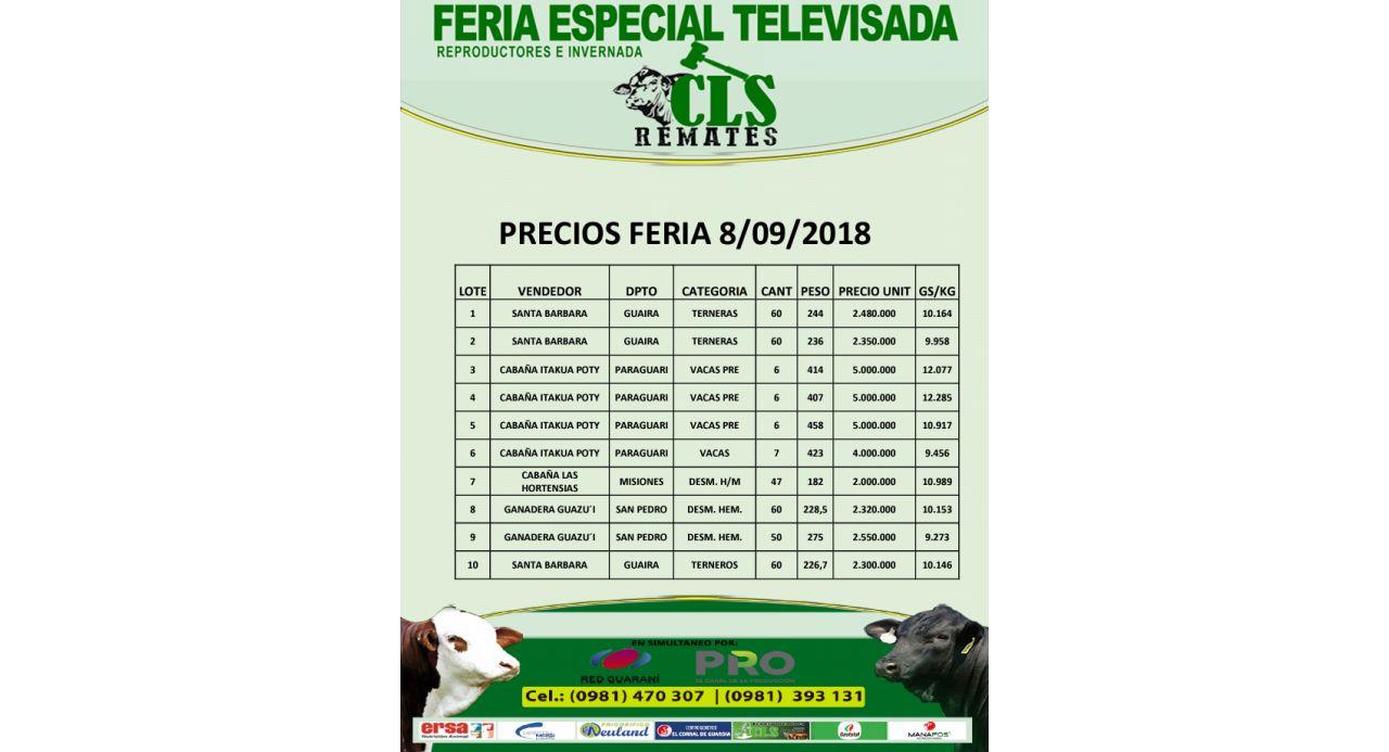 Precios Feria 8/09/2018