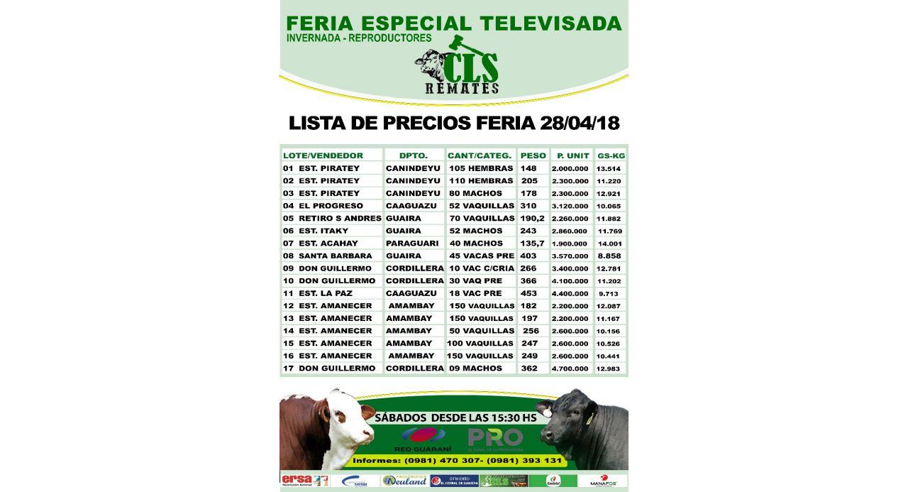 PRECIO FERIA 28-04-2018