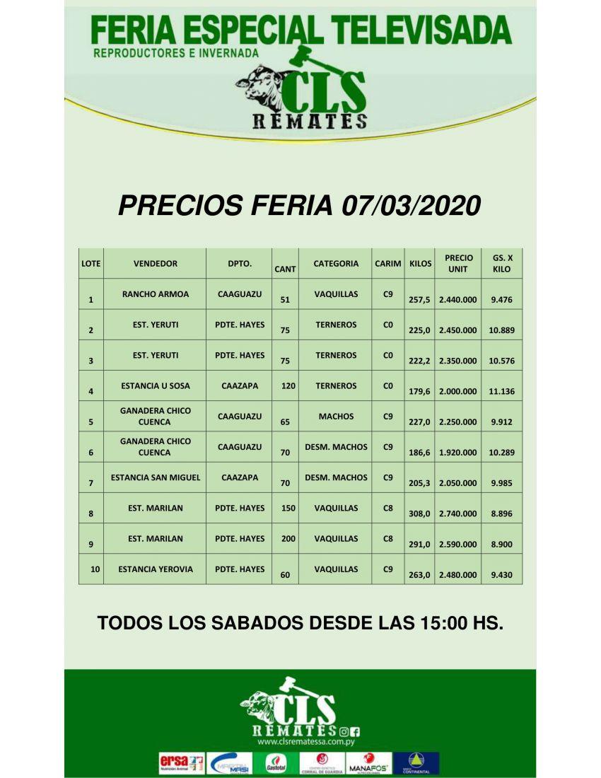 Precios de Feria  07/03/2020