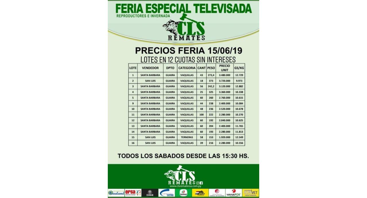 Precios Feria 15/06/2019