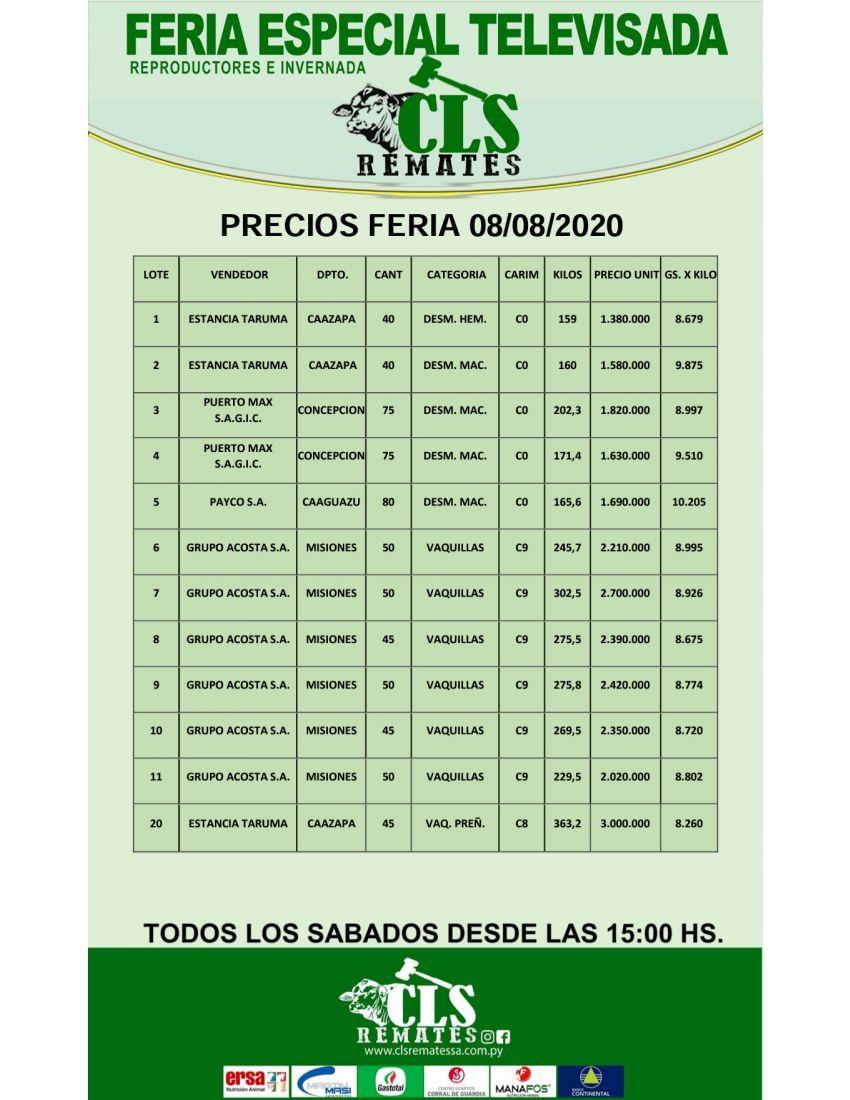 PRECIOS FERIA 08/08/2020