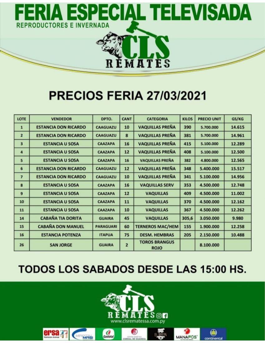 Precios Feria 27/03/2021